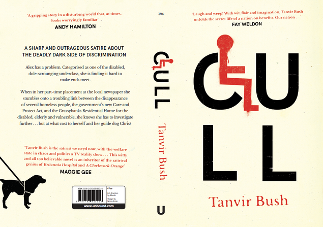 Book Cover of Cull by Tanvir Bush with Front, Back and Spine. Colours are black text with red highlights on cream background. The C of the title Cull acts as a seat for a red stick figure, calling to mind the disability symbol of a wheelchair user.