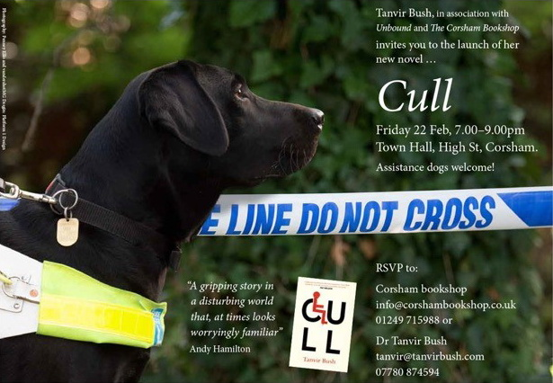 "The official Cull book launch invitation has Launch info in white against a background image of an alert black labrador in guide dog harness gazing across a blue-and-white ""police line do not cross"" barrier tape in front of a green hedge."
