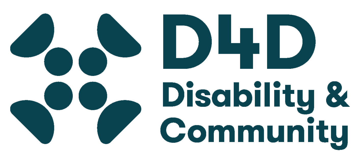 "The logo of the D4D Project consists of a symbol followed by text. The symbol is a stylised X made of four equal filled dots in a square formation in the centre, with each dot abutting the circular side of a larger filled semicircle at a 45 degree angle to the dot. The semicircles could each represent a filled letter D. Alongside this symbol is the legend ""D4D"" with underneath it the words ""Disability & Community""."